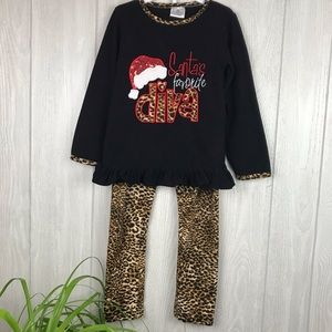 Santa's Diva leopard print holiday 2 piece outfit
